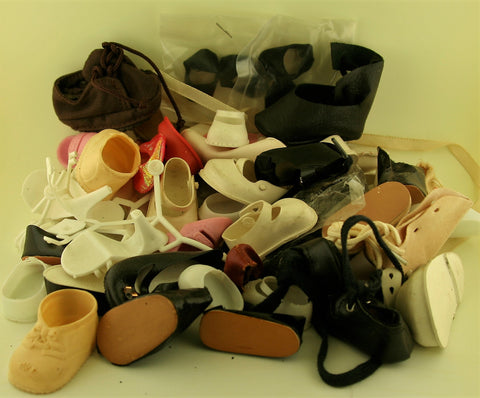 Lot of Big and Baby Doll Shoes, Mostly Vintage