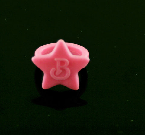 LJN Brooke Shields Ring -- Pink B Logo On Star