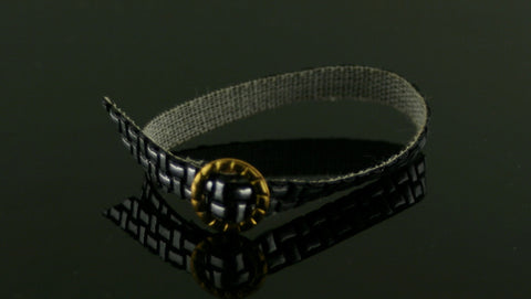 Mystery Item -- Black and Silver Belt W/ Gold Buckle