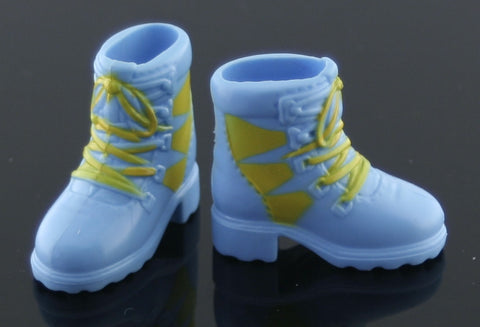 Barbie Size Shoes -- Blue & Yellow Hiking or Ski Boots
