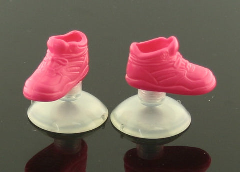 Flat-Footed Barbie Shoes -- Neon Pink Sneakers W/ Suction Cups