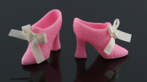 Barbie Shoes -- Pink Victorian Style Ankle Boots W/ Bows