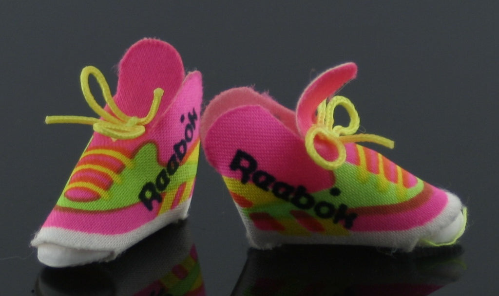 Barbie Size Shoes -- Pink and Green Reeboks Sneakers-- Modern