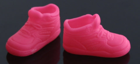 Flat-Footed Barbie Shoes -- Neon Pink High Top Sneakers -- Fit Liv