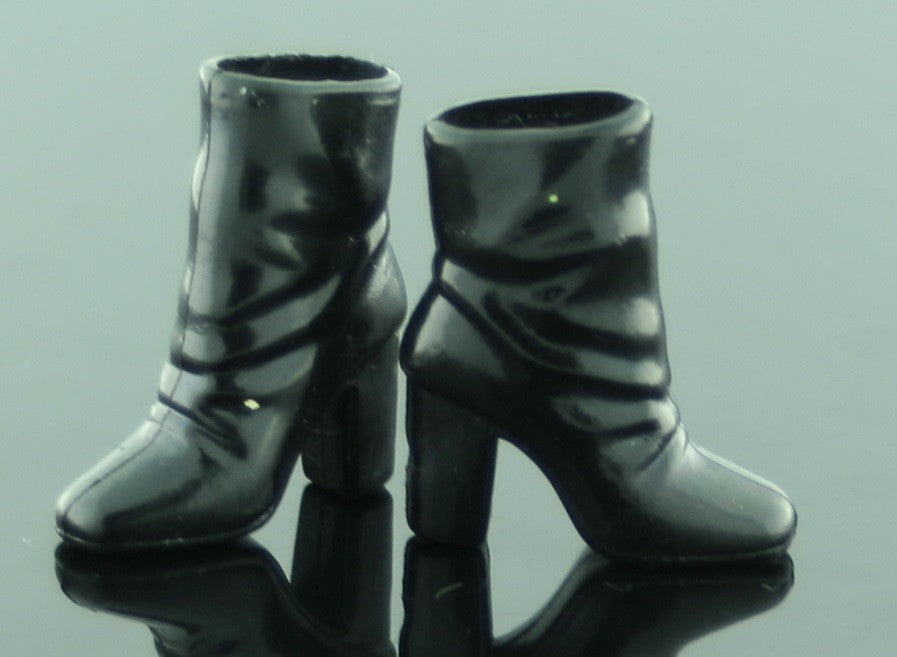 "Barbie Size Shoes -- Black Rubber Ankle ""Slouch"" Boots -- Modern"