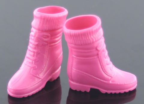 Barbie Size Shoes -- Raspberry Pink Sock Top Hiking Boots -- Modern