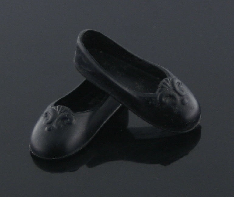 Flat Footed Barbie Shoes -- Black Ballet Flats -- Fits Liv