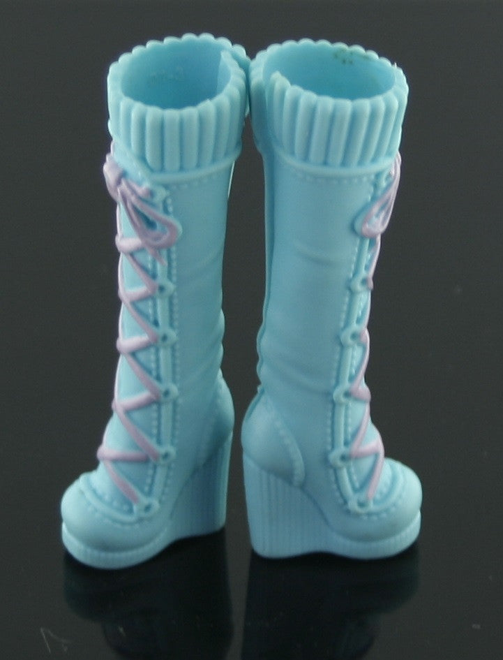 Barbie Size Shoes -- Bright Blue Tall Boots W/ Pink Laces