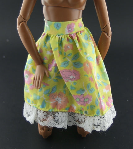 Barbie Size Clothes -- Yellow Floral Print Skirt W/ Lace Hem