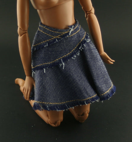 Spin Master Liv Clothes -- Tagged Blue Denim Skirt -- Fits Barbies