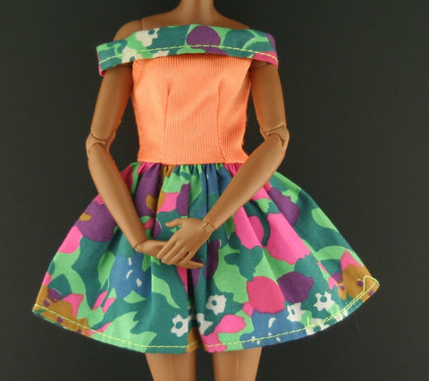 Barbie Dress -- Orange & Green Mini Dress