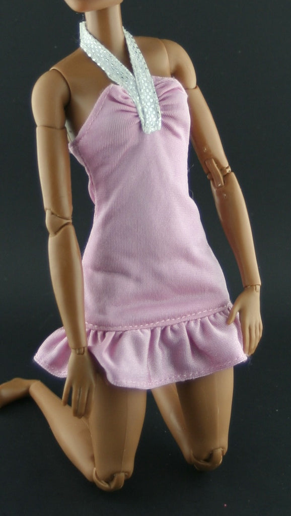 Barbie Size Clothes -- Rose Pink Halter Top Mini Dress