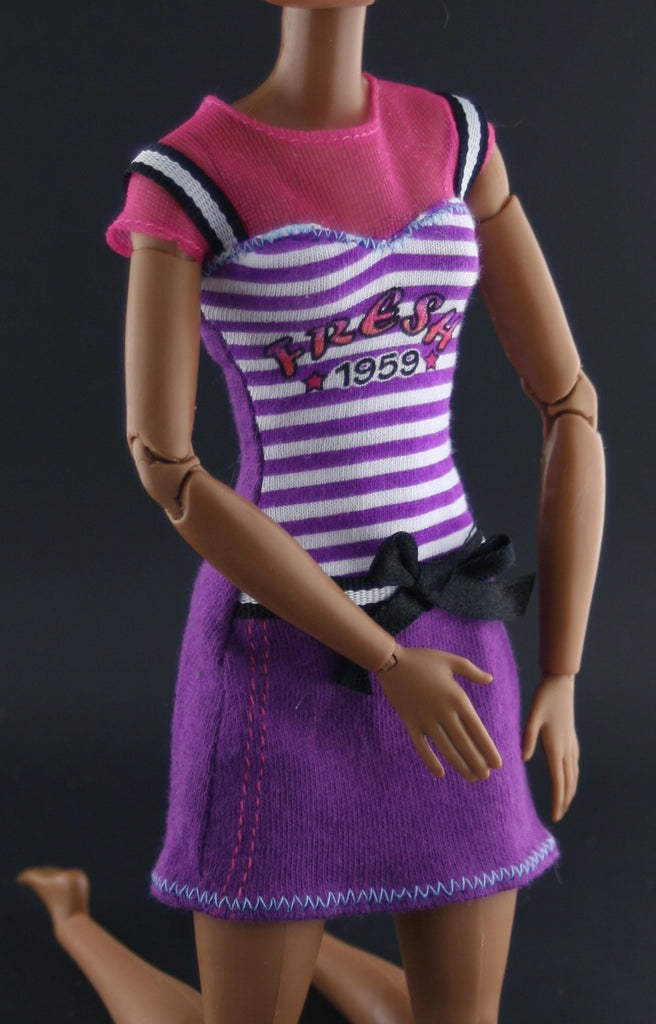 "Barbie Size Clothes -- Purple Striped ""Fresh 1959"" Mini Dress"