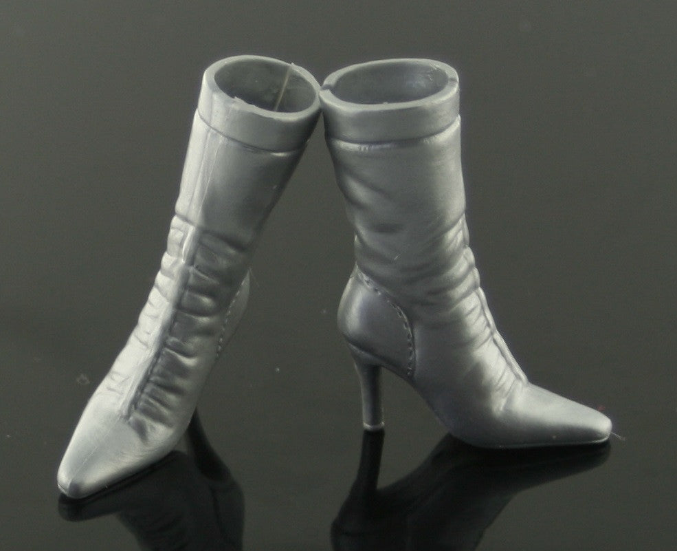 Barbie Size Shoes -- Silver Pointy Toed High Heel Boots