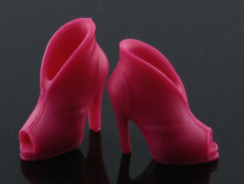 Barbie Size Shoes -- Hot Pink Peep Toe Ankle Boots