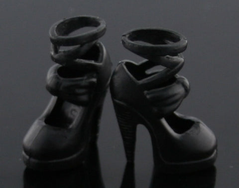 Barbie Shoes -- Black Ankle Tie Stilettos (High Heels)
