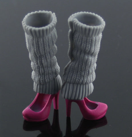 Barbie Size Shoes -- Magenta High Heels W/ Grey Legwarmers