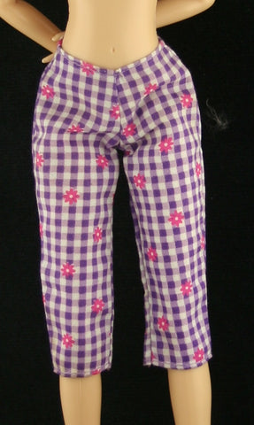 Barbie Size Clothes -- Purple Check Capris W/ Flowers