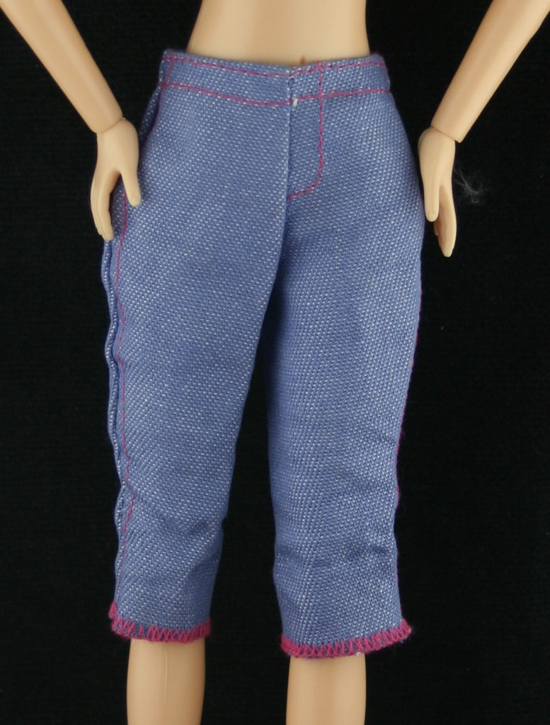 Barbie Size Clothes -- Medium Blue Denim Capris