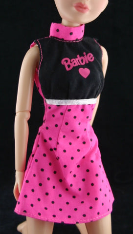 Barbie Clothes -- Neon Pink/Black Mini Dress W/ Polka Dots