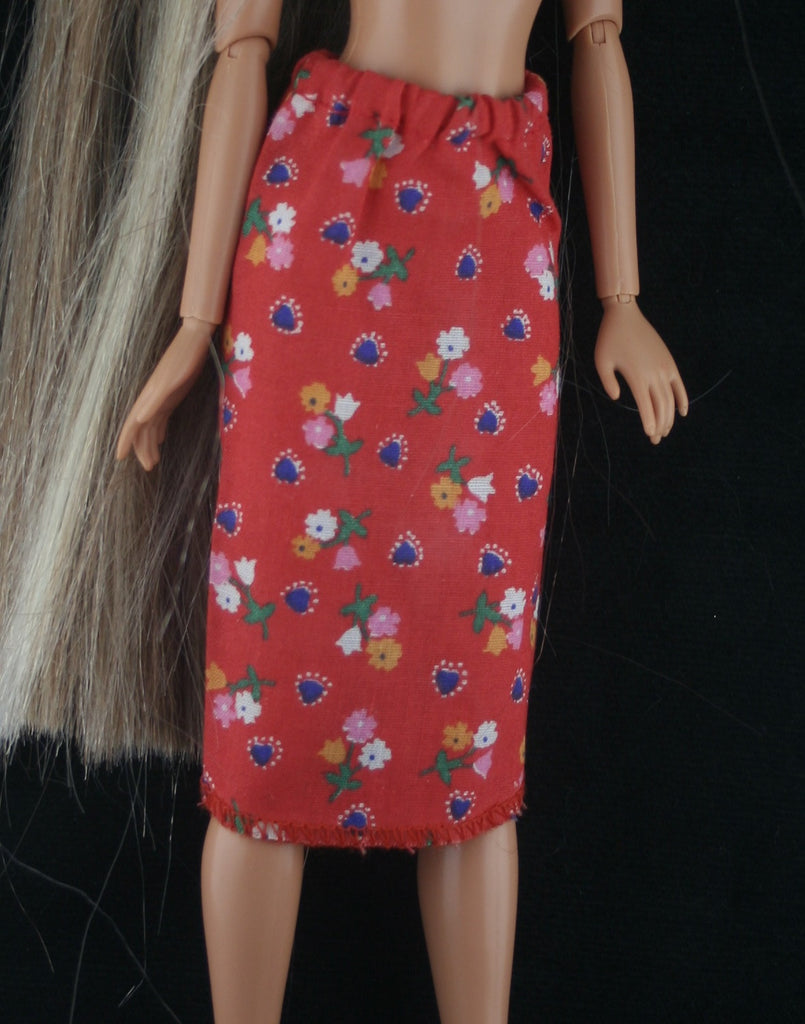 Barbie Size Clothes -- Red Floral Print Pencil Skirt