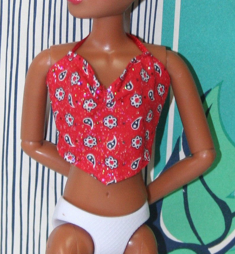Barbie Size Clothes -- Red Halter Top W/ Glitter