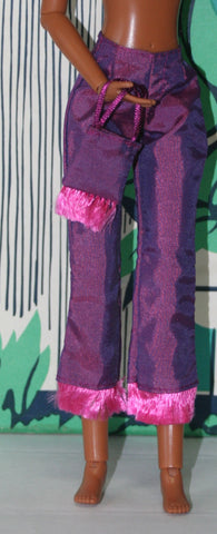 Barbie Size Clothes -- Purple Nylon Pants W/ Pink Fringe, Matching Purse