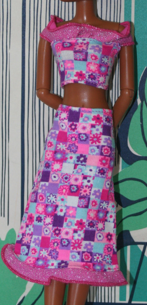 Barbie Size Clothes -- Colorful Skirt & Top Geometric Pattern Pink Purple Blue