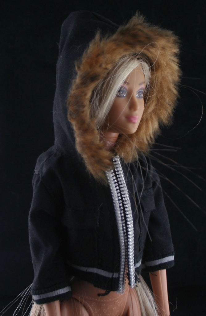 Barbie Size Clothes -- Black Winter Hoodie Jacket W/ a Faux Fur Ruff -- Modern