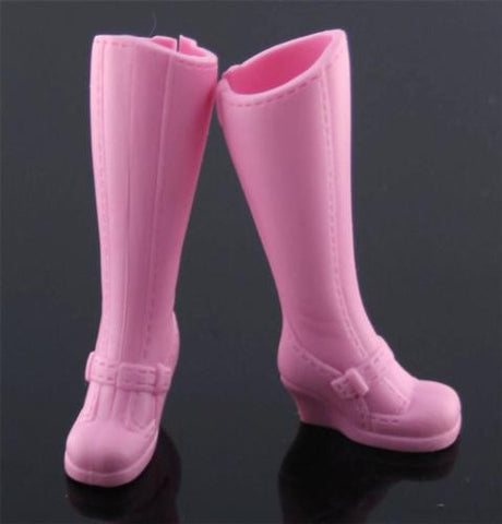 Barbie Shoes -- Wedge Heel Tall Pale Pink Boots