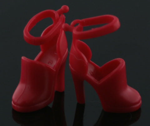Barbie Size Shoes -- Intense Red Ankle Strap Court Shoes