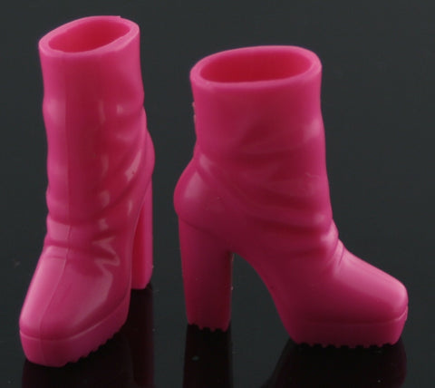 Barbie Size Shoes -- Neon Pink Platform Ankle Slouch Boots
