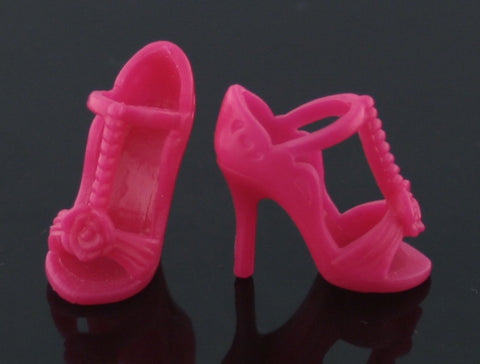 Barbie Shoes -- Hot Pink Fancy High Heel T-Strap Sandals W/ Rosettes -- Modern