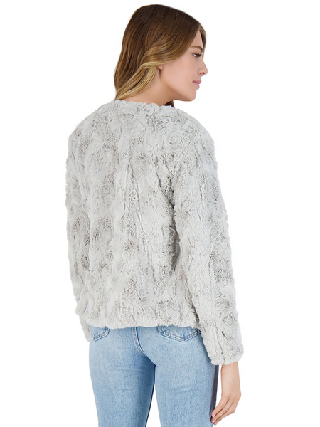 Come Cozy Faux Fur Jacket- Silver Grey