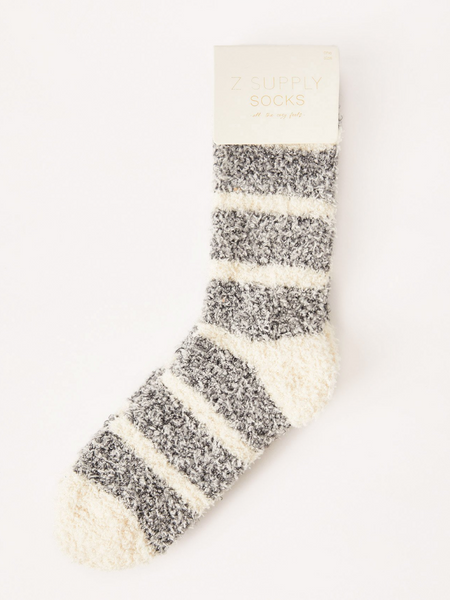 Stripe Plush Socks- Black