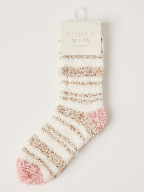 Stripe Plush Socks- Vanilla Ice