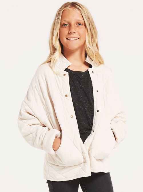 Girls Maya Quilted Jacket- Bone