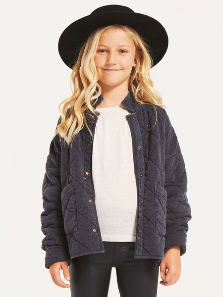Girls Maya Quilted Jacket- Washed Black