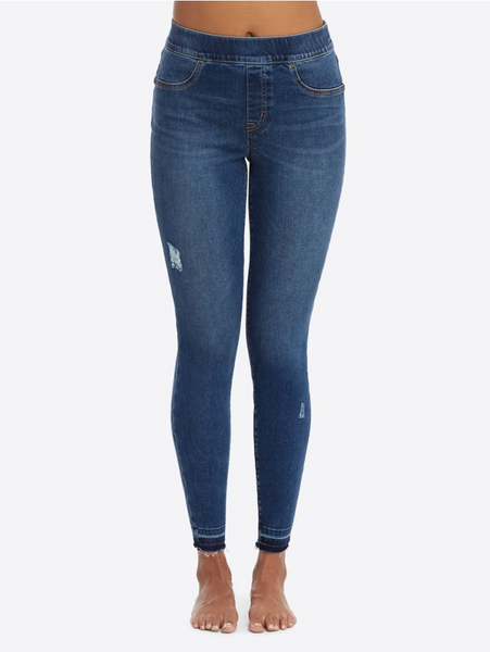 Distressed Skinny Jeans- Mid Wash