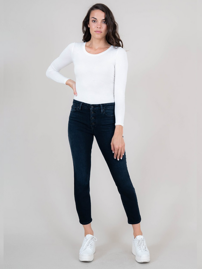 Holly Exposed Button - Ankle Straight