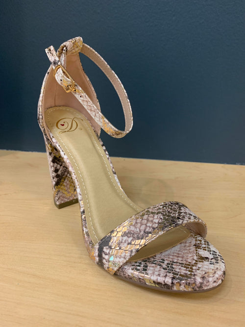 Metallic Snake Skin Heel - FINAL SALE