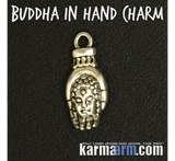 Buddha head in palm of hand charm Men's Women's Yoga Bracelets.