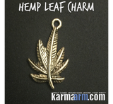 Pot Hemp Leaf Charm Bracelet. Women's & Men's Beaded Bracelets. Talisman Totem Symbol Icon.