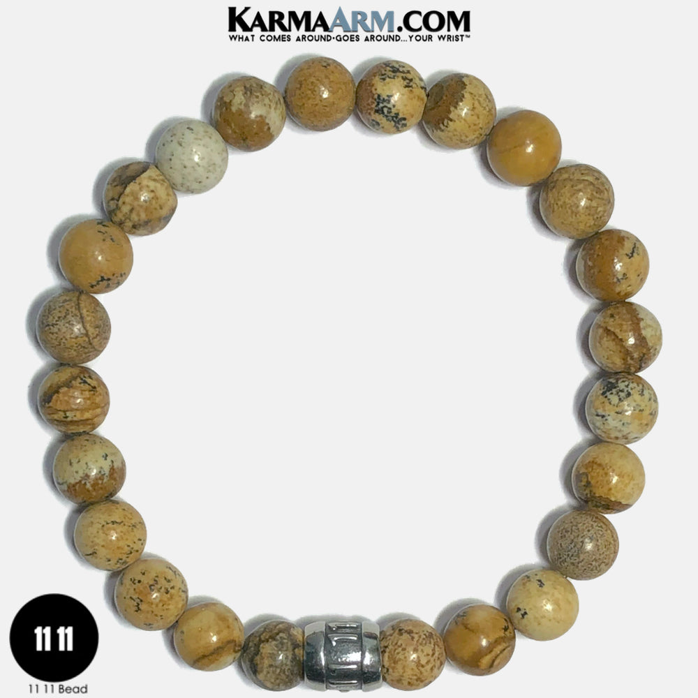 11 11 Angel Numbers Meditation Mantra Yoga Bracelets. Self-Care Wellness Wristband Jewelry. Picture Jasper.