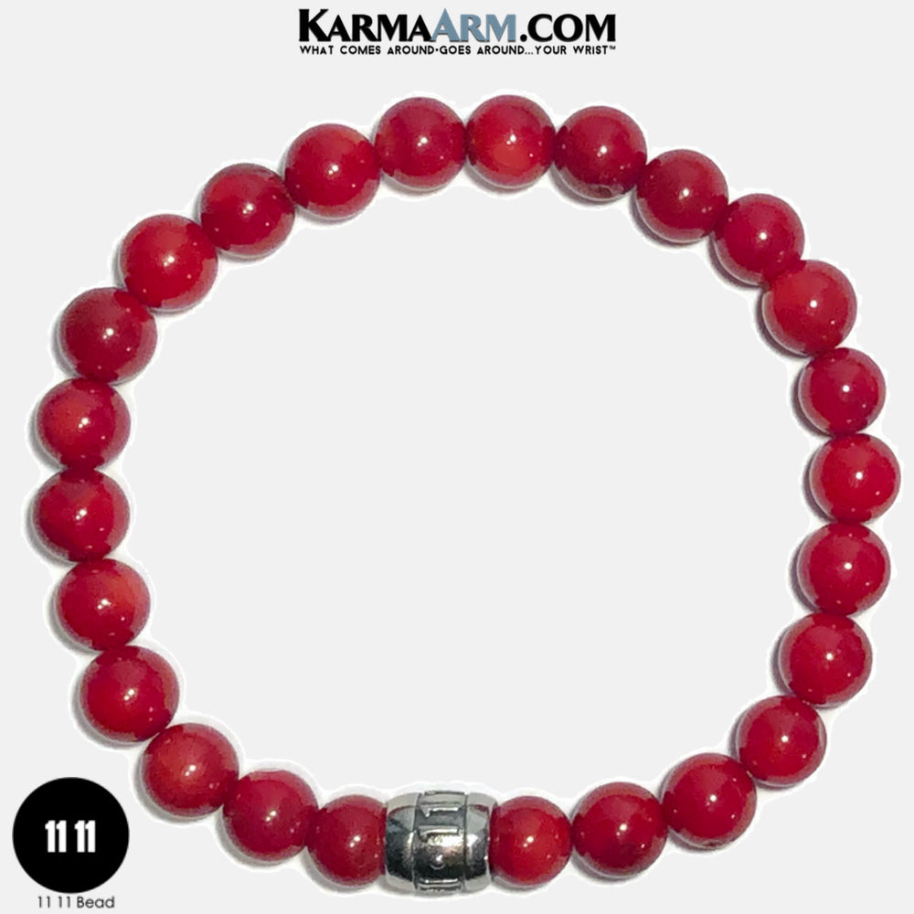 11 11 Angel Numbers Meditation Mantra Yoga Bracelets. Self Care Wellness Wristband Jewelry. Red Coral.