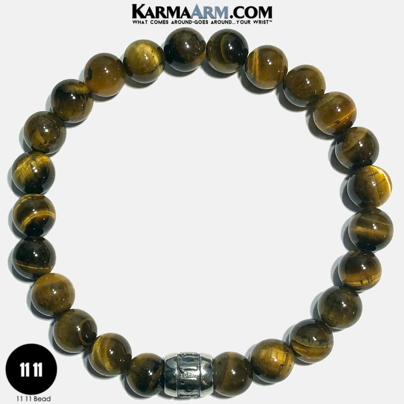 11 11 Angel Numbers Meditation Mantra Yoga Bracelets. Self-Care Wellness Wristband Jewelry. Tiger eye.