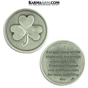 4 Leaf Clover Shamrock Pocket Tokens. Healing Saints | Prayer Tokens.  Lucky Poker Pocket Tokens.  Inspirational coins.