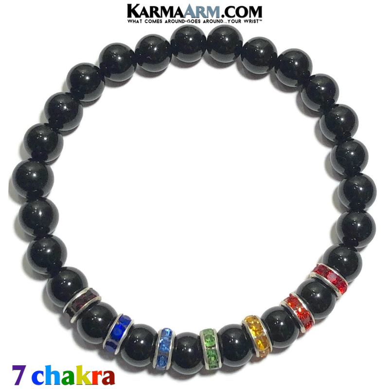 7 Chakra Meditation Mantra Yoga Bracelets. Mens Wristband Jewelry. Black Onyx.