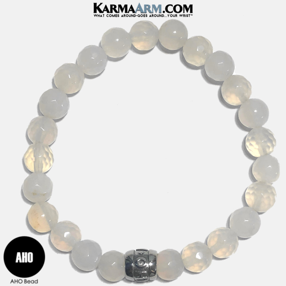 AHO Mantra Meditation Mantra Yoga Bracelet. Self-Care Wellness Wristband White Jade.