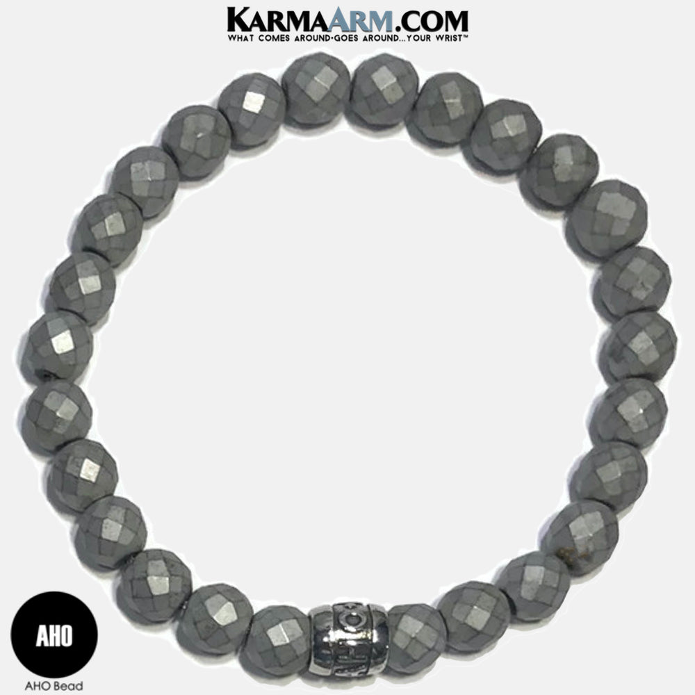 AHO Meditation Mantra Yoga Bracelets. Self Care Wellness Wristband Jewelry. Faceted Silver Hematite.